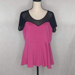 Torrid Peplum Style Blouse Pink and Black 1X